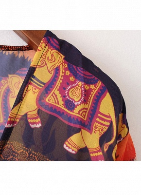 Summer Cardigan Elephant Print Boho Loose Women's Kimono_6