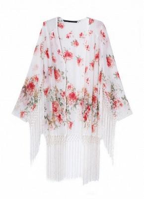 Fashion Floral Print Tassel Long Sleeve Chiffon Kimono_1