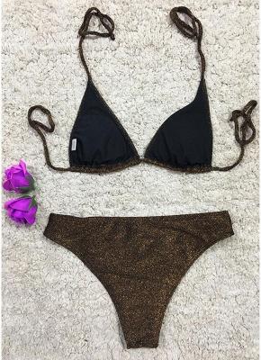 Women Glitter Halter Sexy Bikini Set Bling Sequin Biquini  Swimwear_6