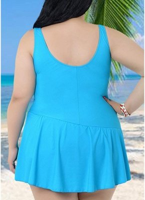 Plus Size Spaghetti Strap Ruffle Backless One Piece Swimsuit_7