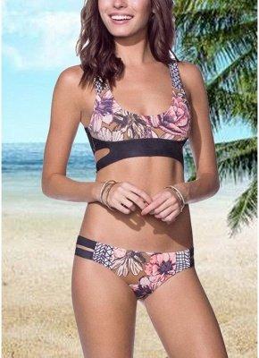 Women Flower Print Cross Push Up Top Bottom Beach Sexy Bikini Set_2