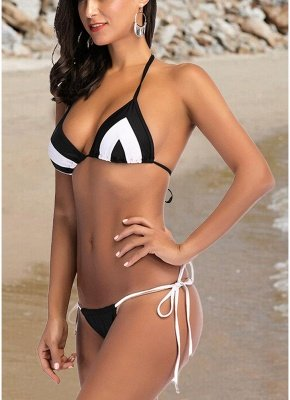 Women Two Piece Sexy Bikini Set Triangle Halter Neck Padded Bandage Swimsuit_5