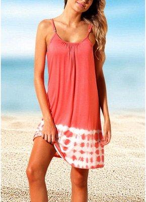 Women Summer Cover Ups Strappy Back Tie Dye Backless Sexy Bikini Cover Beachwear_1