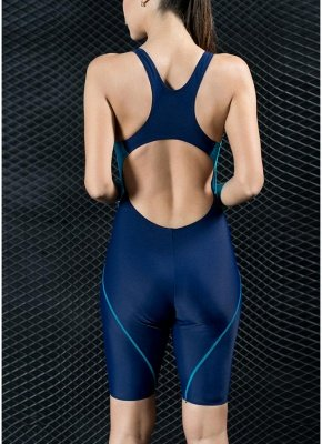Women Sports One Piece Swimsuit Full Brief Knee Professional  Swimwear_5