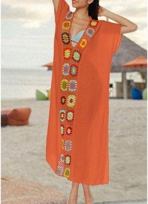 size Crochet Knit Deep V-Neck Short Sleeve Side Split Beach Cover Up_3