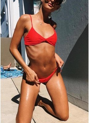 Women Soid Ruched Bandage Strappy Two-Piece Sexy Bikini Set_2