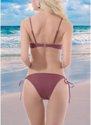 Women Lace Up Front Two Piece Sexy Bikini Set Solid Swimsuit Push Up Bra Tie Sides Swimwear_3
