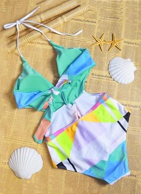 Women Halter One Piece Swimsuit Geometric Print Deep V-Neck Backless Cutout Sexy Bikini  Swimsuit_4