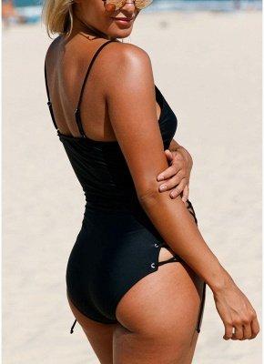 Women One Piece Swimsuit Swimwear Deep V-Neck Lace Up Sides Bathing Suit_5