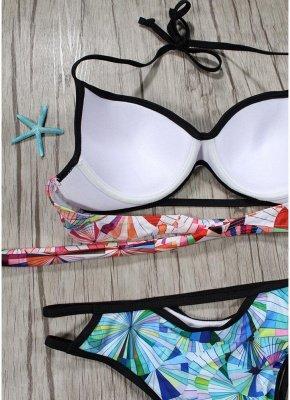 Women Sexy Bikini Set Geometric Print Cut Out Low Waist Halter Padded Two Piece Swimsuit_3