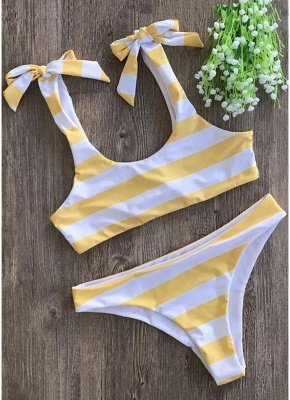 Striped Print Bow Top Bottom Sexy Bikini Set_2