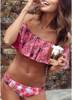 Women Sexy Bikini Set Off the Shoulder Ruffles Floral Print Padded_2