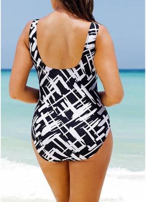 Women Large Size One-piece Swimsuit Contrast Color Stripes  Swimwear_4