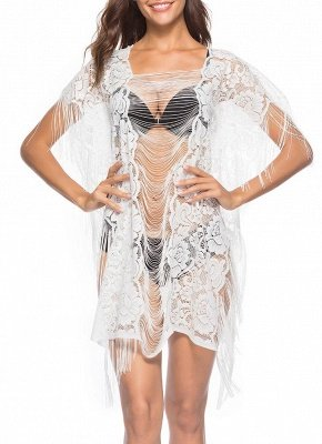 Sheer See Through Flower Lace Tassel Fringe Mini Loose Solid Beach Cover Up_1