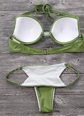 Women Sexy Bikini Set Push Up  Frill Low Waisted Swimwear Padded Two Piece Swimsuit Beach Wear Green_4