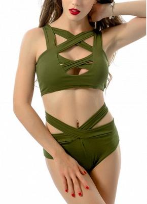 Women Sexy Bikini Set Cut Out Front Deep V-Neck Seeveess High Waist Bottom Swimwear Red/Green_10