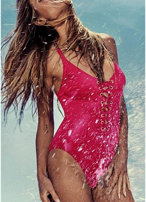 Plunge V Neck Crisscross Bandage Solid One-piece Swimsuit_2
