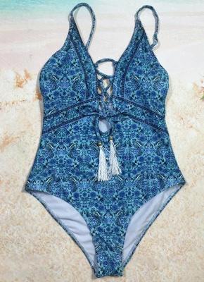 Women One Piece Swimsuit  Deep V-Neck Lace Up Swimwear Backless Printed Beachwear Monokini_4