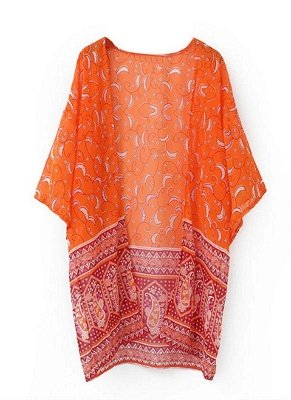 Women Cardigan Open Front Contrast Print Half Sleeve Kimono_1