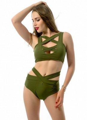 Women Sexy Bikini Set Cut Out Front Deep V-Neck Seeveess High Waist Bottom Swimwear Red/Green_4
