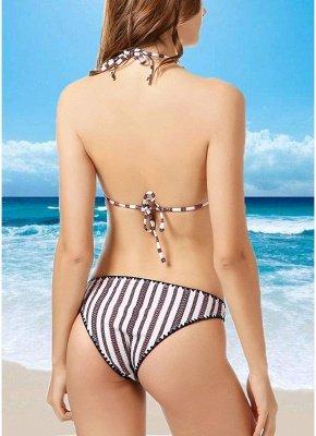 Contrast Striped Triangle Halter Push Up Sexy Bikini Set_4