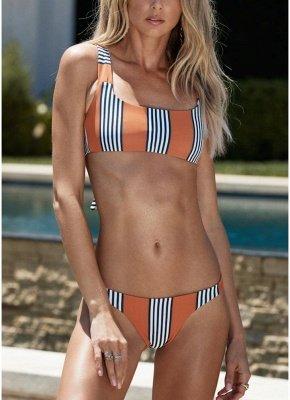 Striped Back Knot Sexy Bikini Set_1
