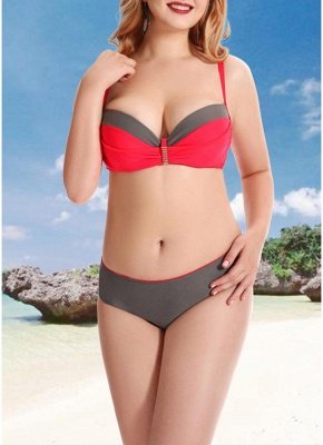 Women Plus Size Two Piece Sexy Bikini Set Triangular Spaghetti Strap Swimwear_1