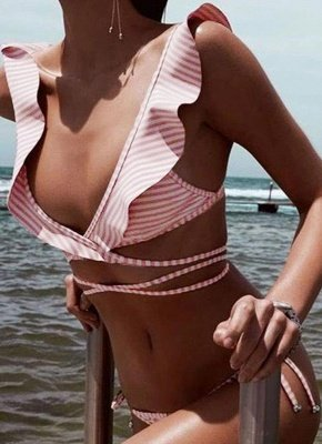 Women  Ruffles Bandage Sexy Bikini Set Swimsuit_1