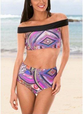 Boho Women Two Piece Sexy Bikini Set Off Shoulder Colorful Geometric Print Padded High Waist  Swimsuit_1