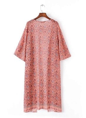 Fashion Chiffon Allover Print Front Open Women's Loose Long Thin Kimono_5