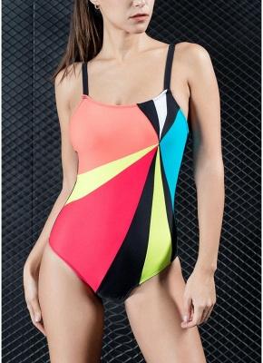 Women One-piece Swimsuit Contrast Color Block Sporty Monokini  Swimwear_1