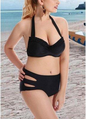 Plus Size Solid Halter Push Up Underwire Sexy Bikini Set_6