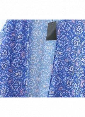 Vintage Retro Print Tassel Fringe Sheer Chiffon Blue Kimono_7