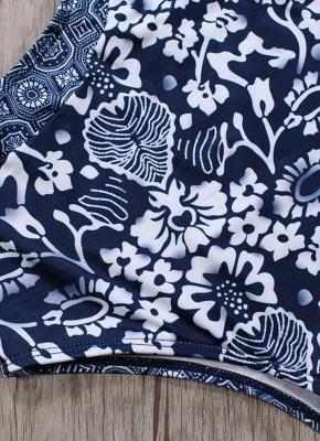 Women One Piece Swimsuit  Floral Print Lacing Up Hollow Out Contrast Bodysuit Beach Wear Swimwear_7