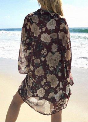 Women Long Beach Cover Up Chiffon Kimono_4