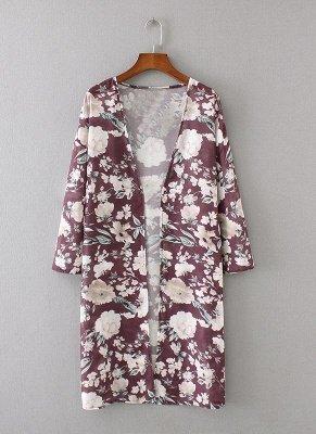 Women Long Beach Cover Up Chiffon Kimono_5