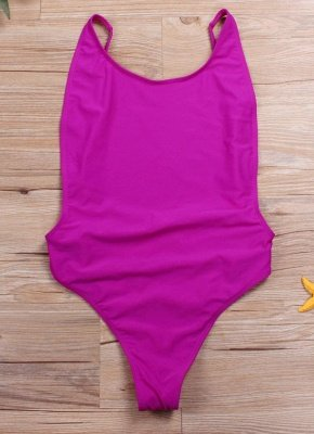 Cut Out Open Back Solid Padded Monokini One Piece_2