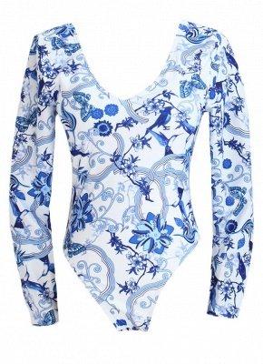 Women Vintage Porcelain Floral Print One Piece Swimsuit_6