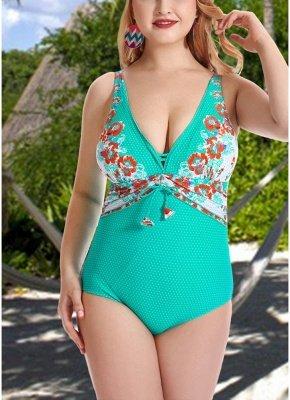 Women Plus Size One Piece Swimsuit Open Back  Monokini_2