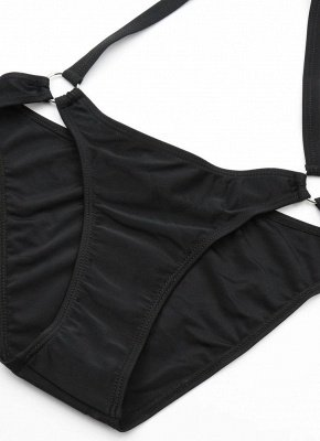 Halter Cross Design Strappy Plunge Bandage Black One Piece Swimsuits_8