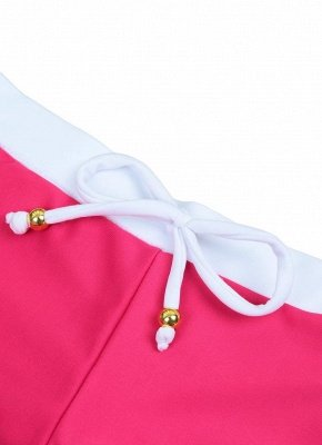 Color Block Halter Padded Two Piece Rose Sexy Bikini Set_6