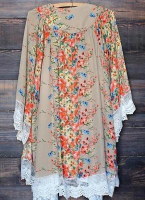 Vintage Floral Print Lace Hem Boho Chiffon Kimono_3