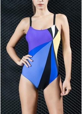 Women One-piece Swimsuit Contrast Color Block Sporty Monokini  Swimwear_2