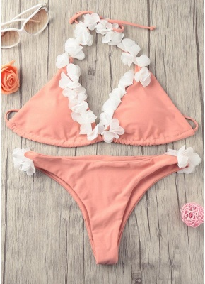 Women Sexy Bikini Set Halter 3D Flower Appliqués Bandage Wireless Swimwear Swimsuits Two Piece Beach Wear_5