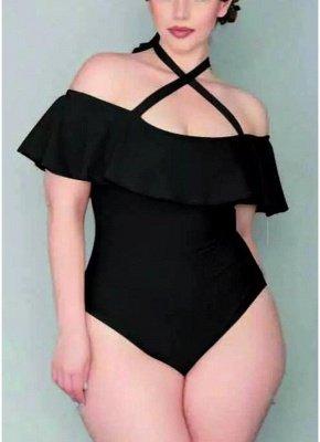 Plus Size Velvet Ruffle Halterneck Off The Shoulder Swimsuit One Piece_8