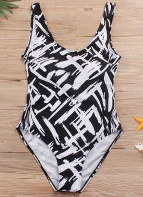 Women Large Size One-piece Swimsuit Contrast Color Stripes  Swimwear_5