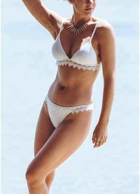 Women Triangle Sexy Bikini Set Crochet Trim_5
