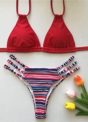 Floral Print Halter Bandage  Women Sexy Bikini Set_2