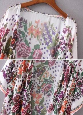 size Chiffon Floral Print Asymmetric Loose Long Kimono_6