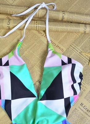 Women Halter One Piece Swimsuit Geometric Print Deep V-Neck Backless Cutout Sexy Bikini  Swimsuit_5